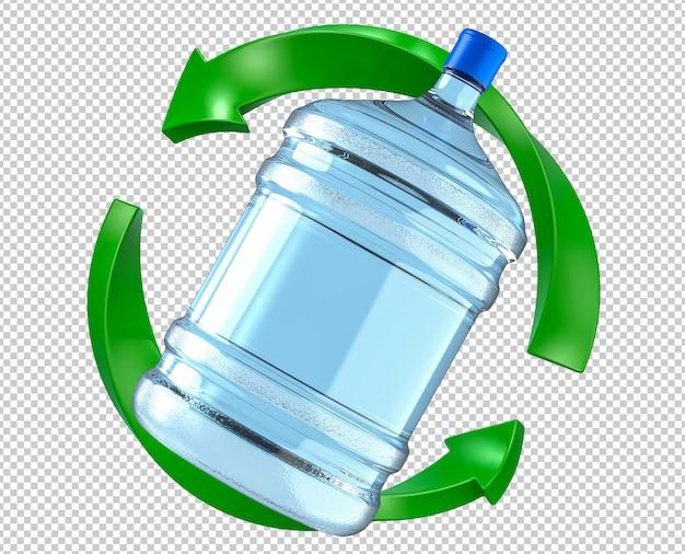 Big plastic water cooler bottle in green refresh arrow symbol