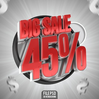 3d 렌더링에서 할인된 큰 판매 45 텍스트