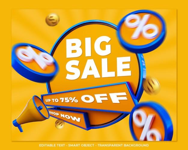 Big sale banner 3d promotion social media post