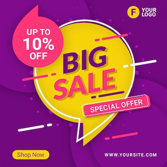 Big sale banner template promotion