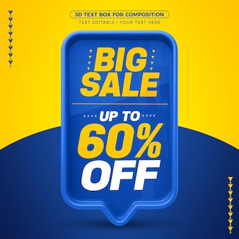 Big sale of blue 3d text box with up to 60% discount
