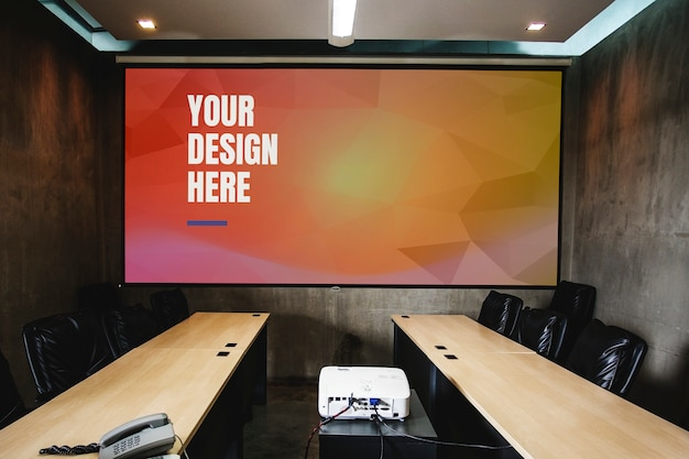 Big screen mockup in conference room