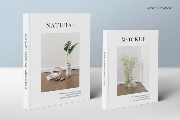 Big and small size book standing mockup