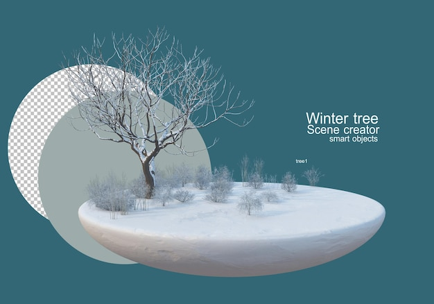 겨울 초원에 큰 나무
