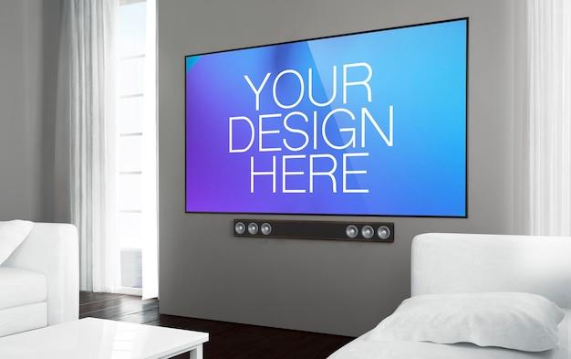 リビングルームの大きなテレビ画面のモックアップ