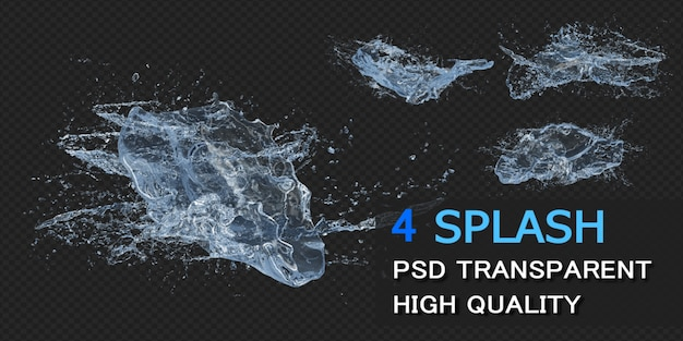 Big water splash with droplets pack design isolated