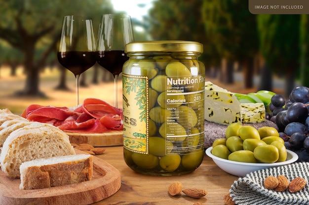 Big whole olives jar mockup design