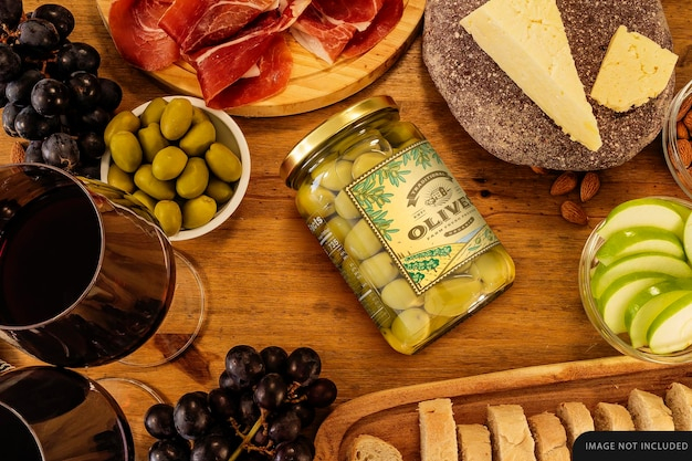 Big whole olives jar mockup on table