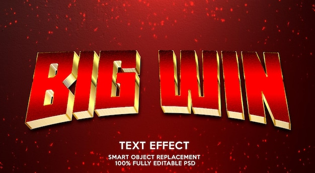 Big win text effect template