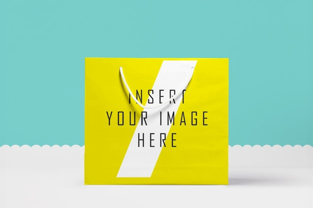 Big yellow paper bag mock up