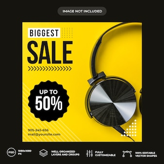 Biggest sale social media banner template
