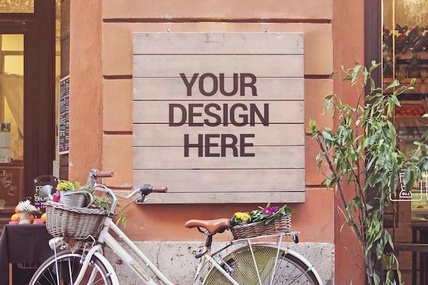 Bike signboard mockup
