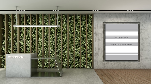 Рекламный щит в бетонной дорожке в 3d визуализации