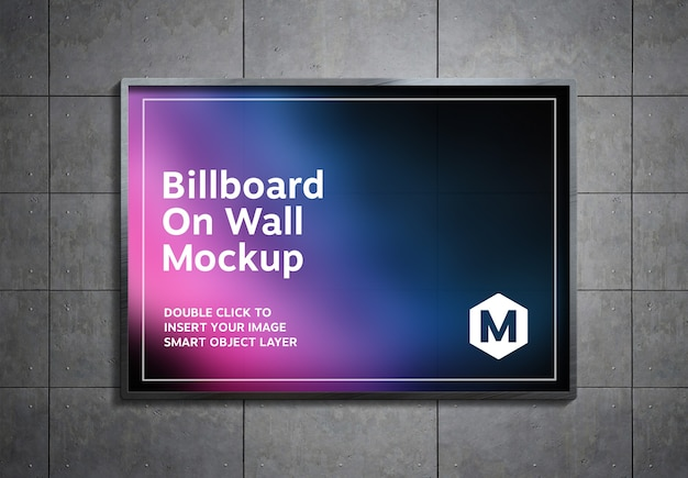 Billboard hanging on metal panels wall mockup