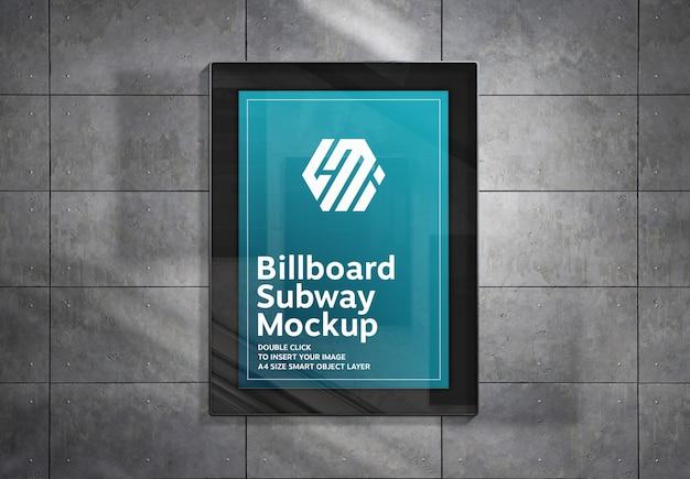 Billboard hanging on metal panels wall mockup