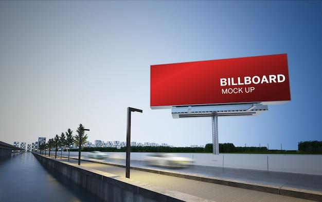 Billboard on highway 3d rendering mockup