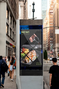 Billboard mock-up with sushi