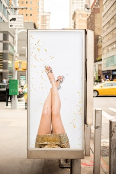 Billboard mock-up with woman