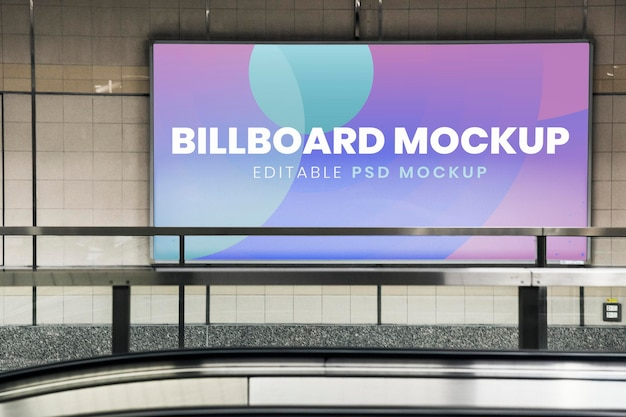 Billboard mockup, advertising sign psd on the wall