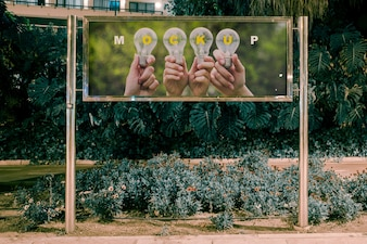 Billboard mockup at night
