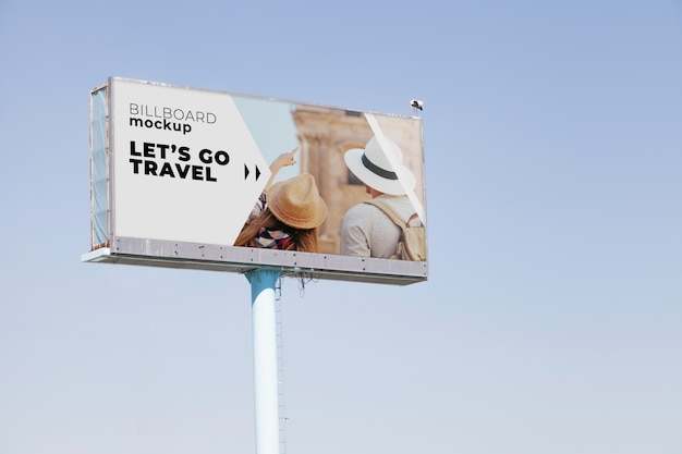 Billboard mockup on blue sky background
