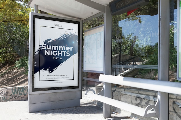 Billboard mockup on bus stop