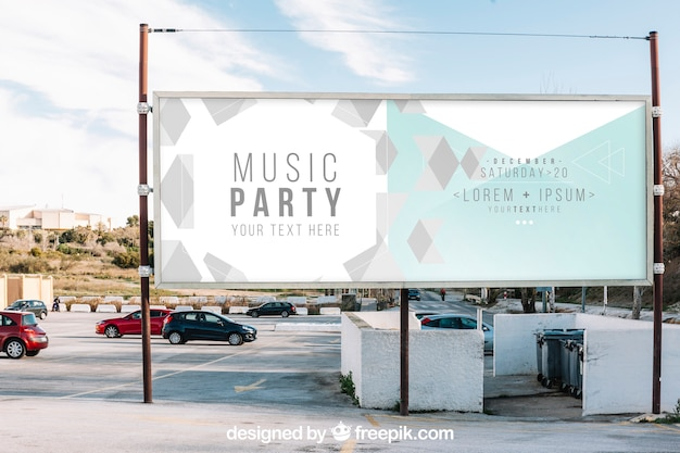 Billboard mockup in city