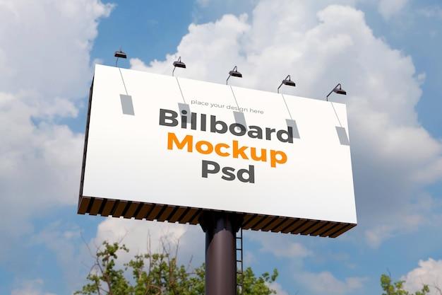 Billboard mockup design against the clouds