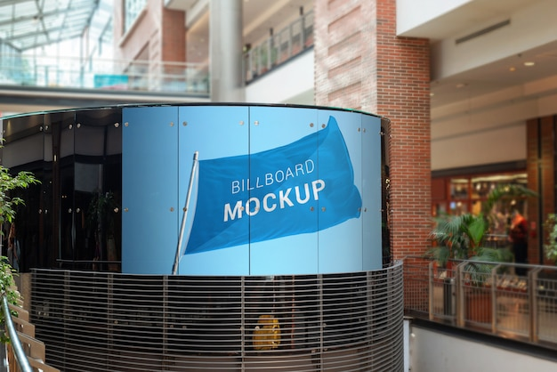 Billboard mockup on glass in the shopping mall Premium Psd