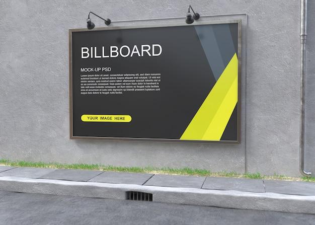 Billboard mockup on grey wall