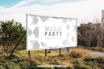 Billboard mockup in nature