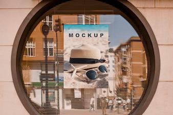 Billboard mockup in round window