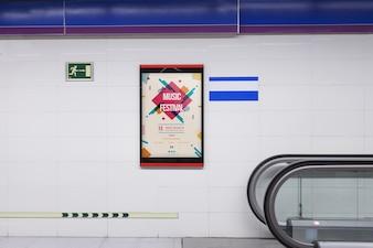 Billboard mockup in subway station