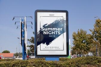 Billboard mockup in urban environment