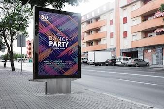 Billboard mockup in urban landscape