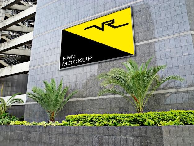 Billboard mockup on modern building