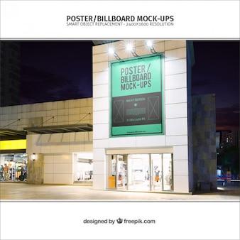 Billboard mockup on a building