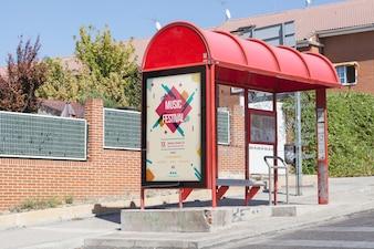 Billboard mockup on bus stop