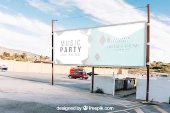 Billboard mockup on parking lot