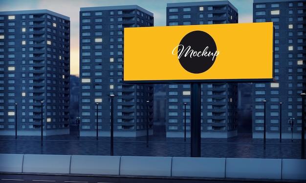 Макет рекламного щита на обочине дороги с квартирами