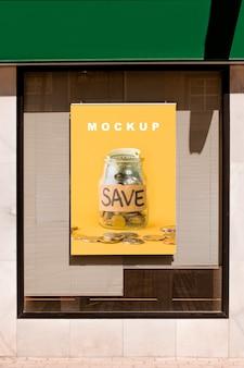 Billboard mockup on shop window