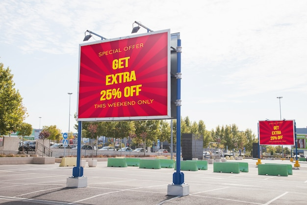 Billboard mockup at parking lot