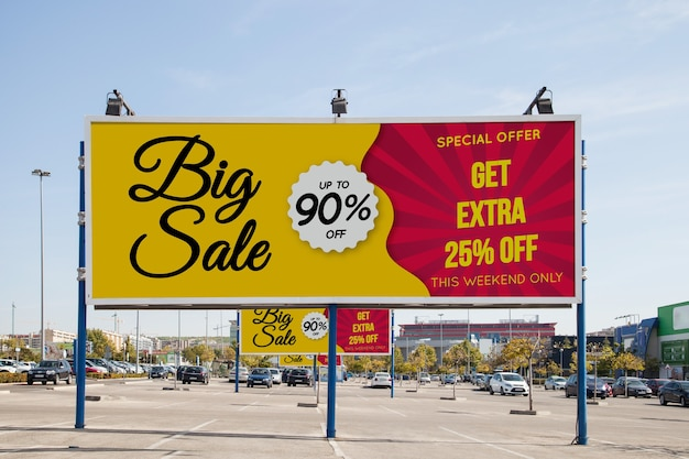 Billboard mockup at parking lot