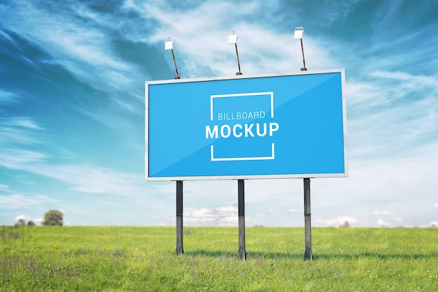 Billboard mockup. smart object layer surface for marketing campaign promotion