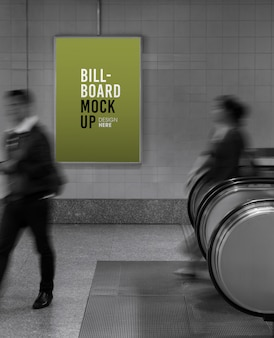 Billboard mockup in subway or metro station, useful for advertising.