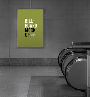Billboard mockup in subway or metro station