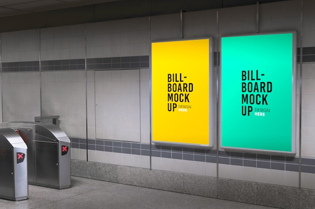 Billboard mockup in subway or metro station
