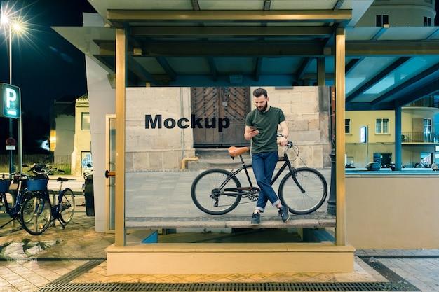 Billboard mockup at subway station