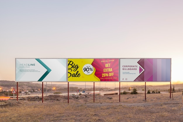 Billboard mockup on sunset sky
