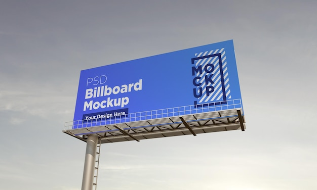Billboard mockup template, side view